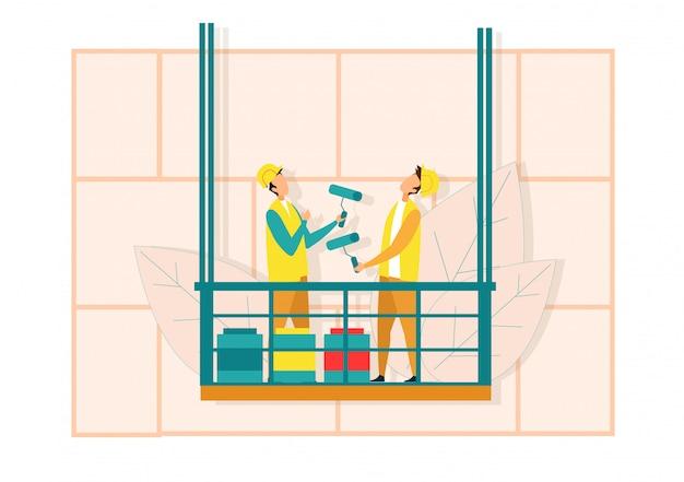 Рабочие на лифте валик для покраски стен Premium векторы