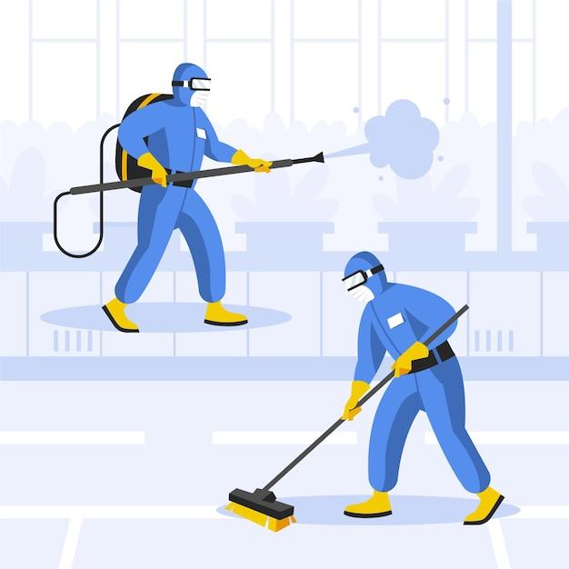 清掃サービスのコンセプトを提供する労働者 無料ベクター
