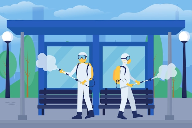 Workers providing cleaning service in public spaces Free Vector