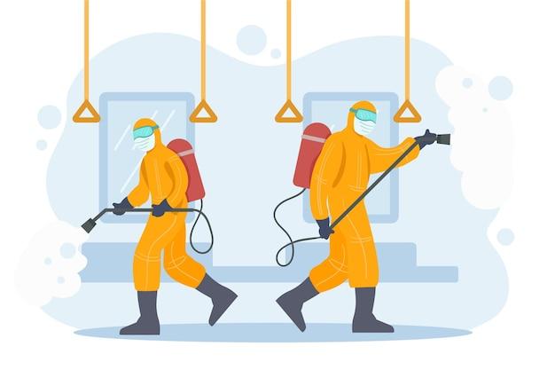 Работники, предоставляющие дезинфицирующие услуги в общественных местах Бесплатные векторы