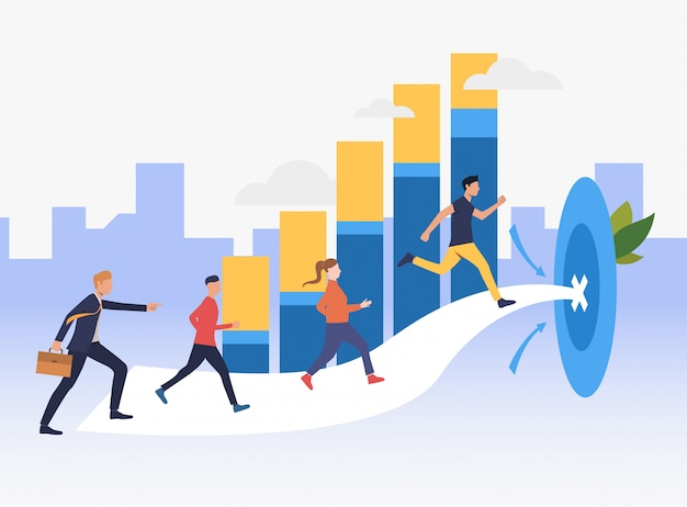 Workers running to target with bar chart in background Free Vector