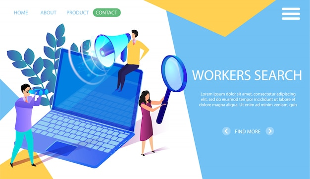 Workers search horizontal banner. headhunting. Premium Vector