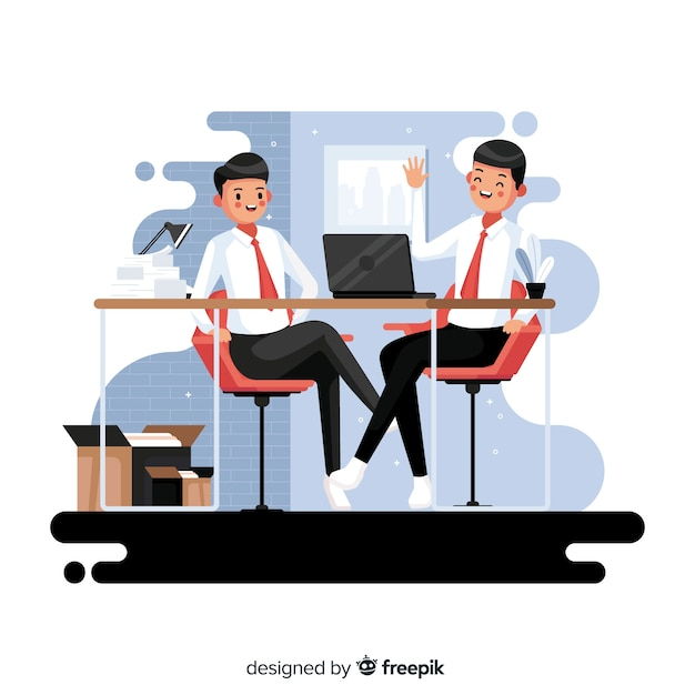 Workers sitting at desk at their job Free Vector