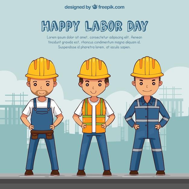 Workers wearing helmet background Free Vector