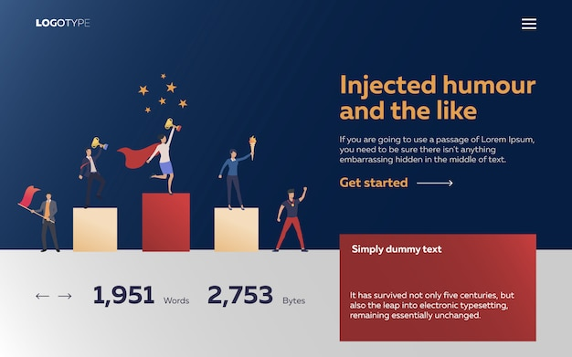 Workers winning awards landing page Free Vector