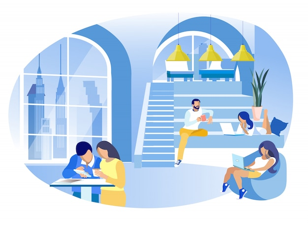 Workers with laptops and coffee cups.. Premium Vector
