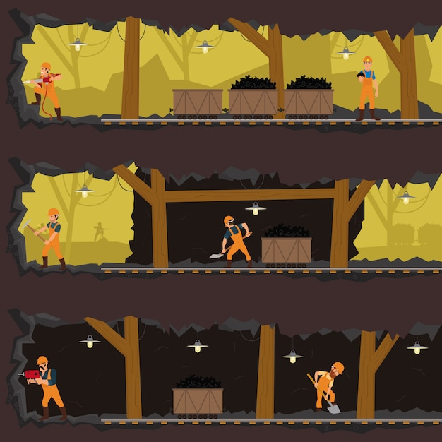 Workers working in the mine at different levels. Premium Vector