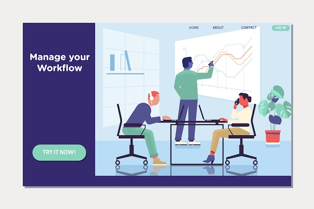 Workflow and business management. people work in a team and interact with graphs. Premium Vector