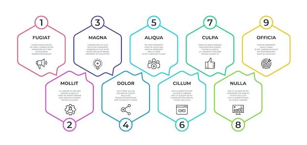 Workflow infographic. 9 step flow graphic, timeline minimalist hexagon banner Premium Vector