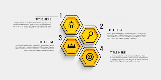 Workflow infographic with four optional Premium Vector