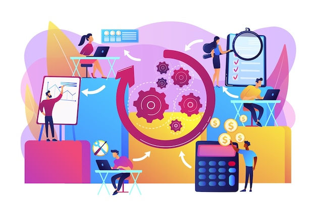 Workforce organization and management. workflow processes, workflow process design and automation, boost your office productivity concept. Free Vector