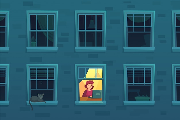 Работаем ночью. занятый трудоголик работает дома по ночам, когда соседи спят, одинокий человек в оконной раме карикатура иллюстрации Premium векторы