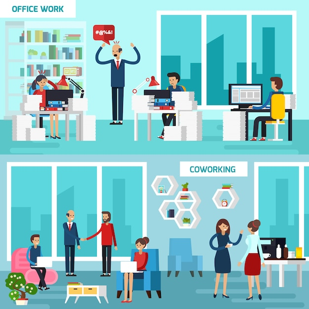 Working character banner set Free Vector
