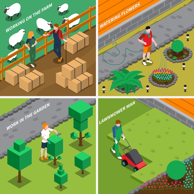 Working on farm 2x2 design concept Free Vector