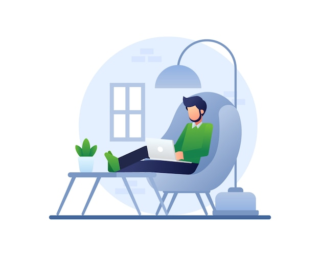 Working from home illustration with a man works using a laptop on a comfy couch Premium Vector