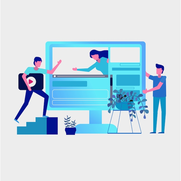 Working group on social media Premium Vector
