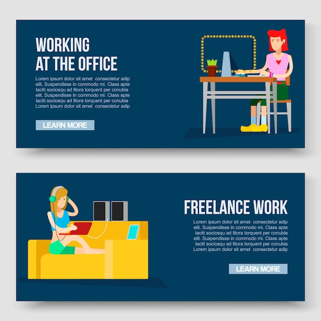 Working at home and freelance vector illustration with text template.  relaxation. work wherever you want with pleasure. girl freelancer worker at home computer and with laptop and music speakers on sofa. Premium Vector