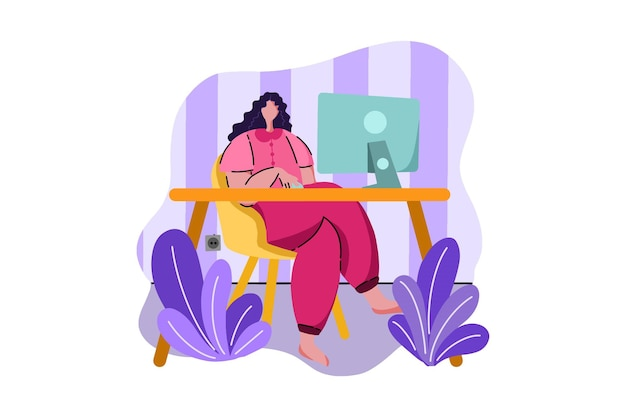 Working in home web illustration