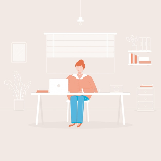 Working at home Premium Vector