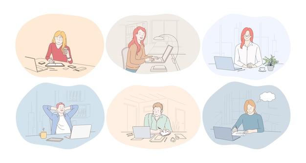 オフィス、ラップトップ、オンラインコミュニケーション、フリーランス、スタートアップのコンセプトで働いています。 Premiumベクター