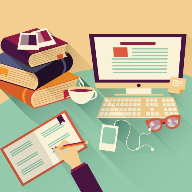 Working in the office design Free Vector