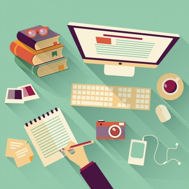 Working at the office top view Free Vector
