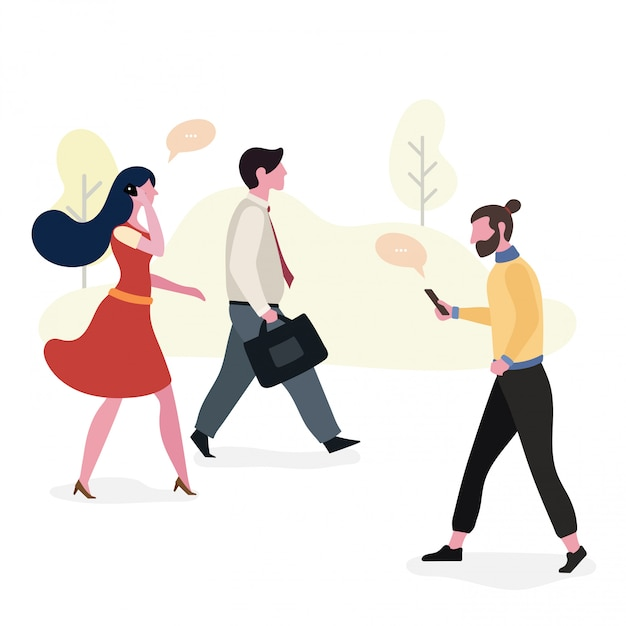 Working people walking to workspace, illustration design Premium Vector