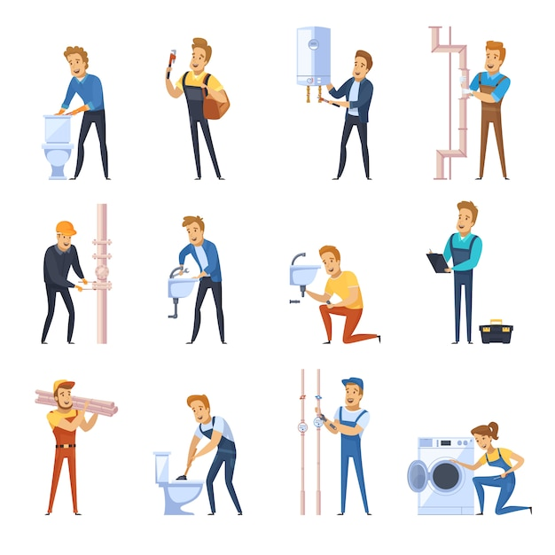 Working plumbers flat color icons set Free Vector