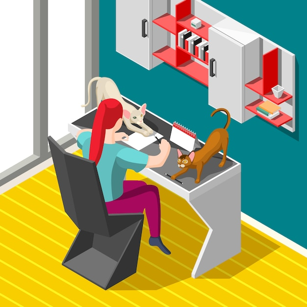 Working process and cats Free Vector
