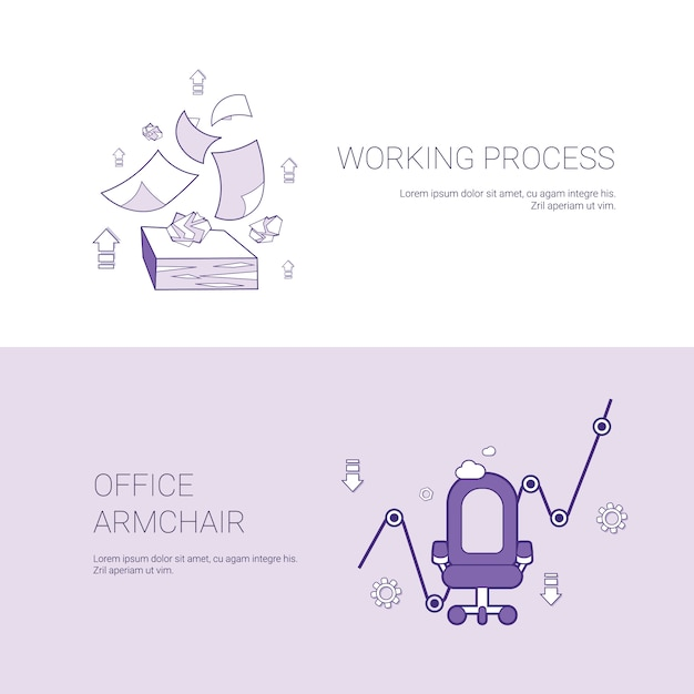 Working process and office armchair concept template web banner with copy space Premium Vector