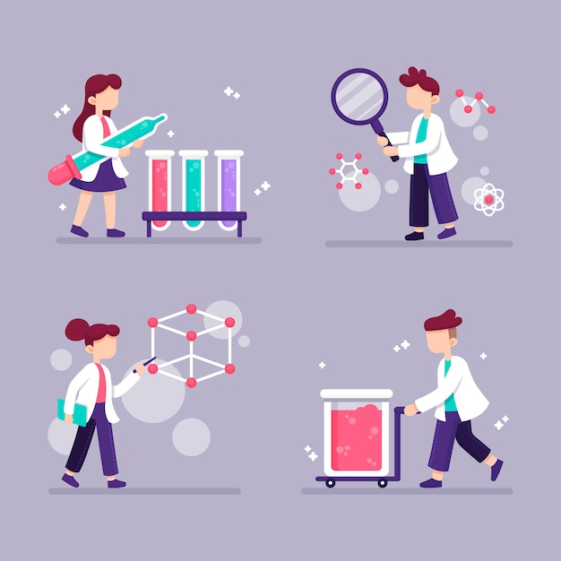 Working scientist character with white robe Free Vector