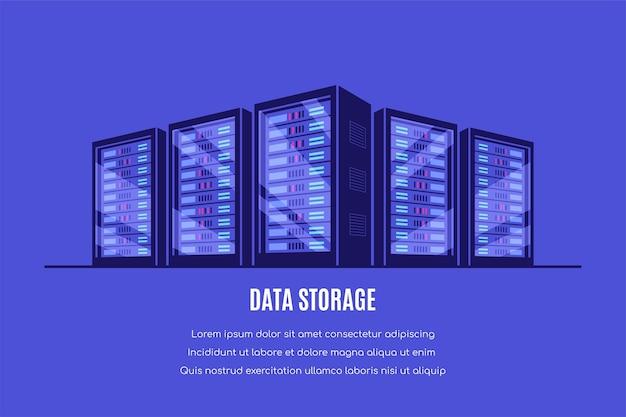 Working server server cabinets. data storage, cloud storage, data center .  style Premium Vector