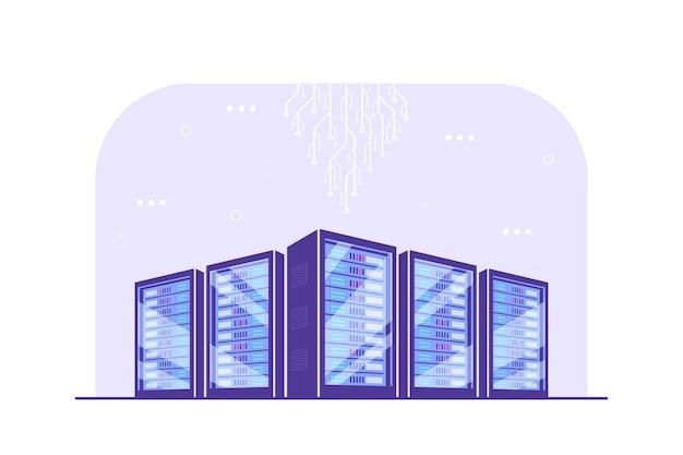 Working server server cabinets. data storage, cloud storage, data center . Premium Vector