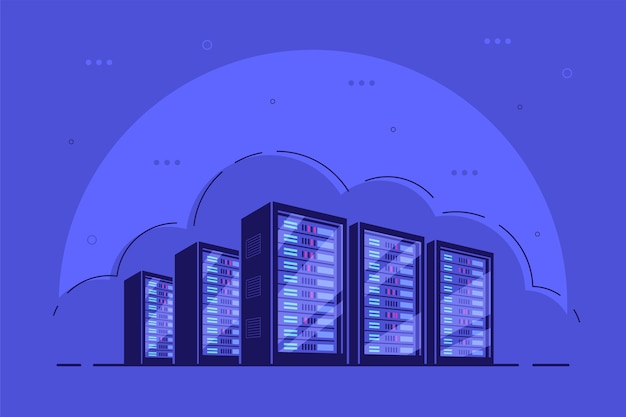 Working server server cabinets. data storage, cloud storage, data center . Premium Vector