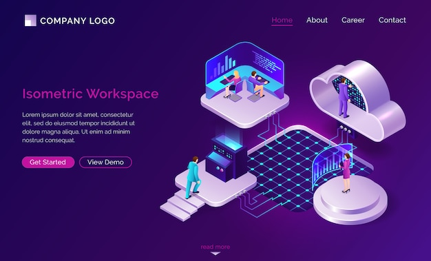 Working space isometric futuristic concept Free Vector