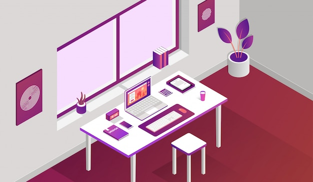 Working space room with isometric elements in front of window Premium Vector