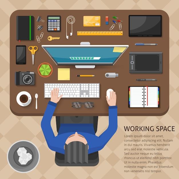 작업 공간 평면도 디자인 무료 벡터