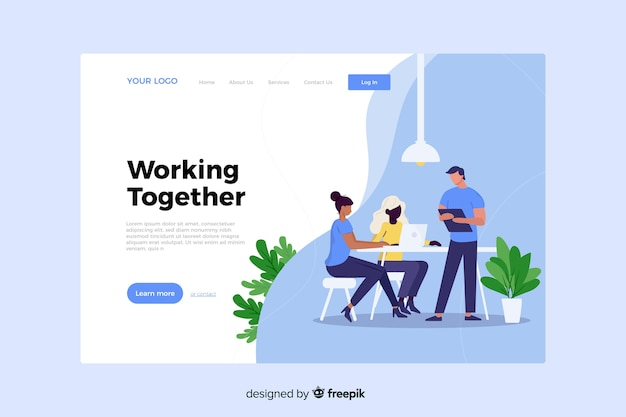 Working together concept for landing page Free Vector