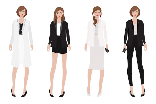 Working woman in beautiful black and white outfit collection Premium Vector
