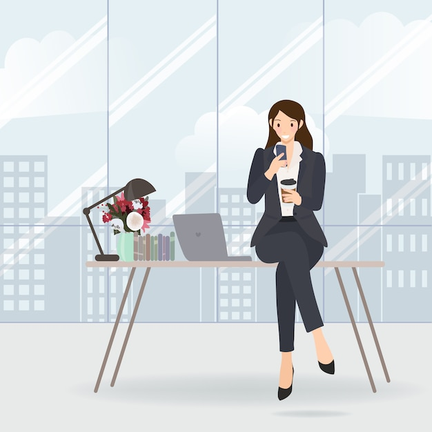 Working woman checking her mobile on table in office Premium Vector