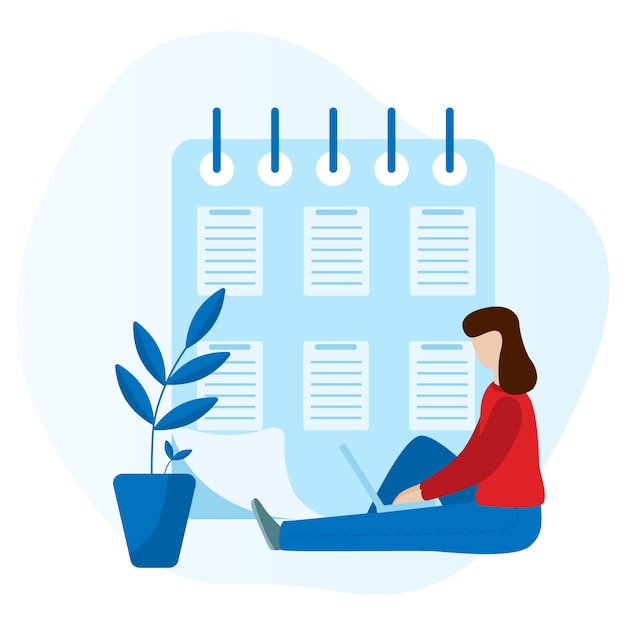 Working woman sitting with a laptop. social network concept. freelance remote work. flat vector concept illustration isolated Premium Vector