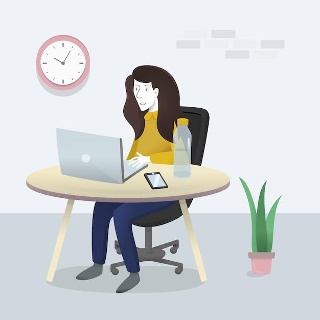 Working-woman Premium Vector