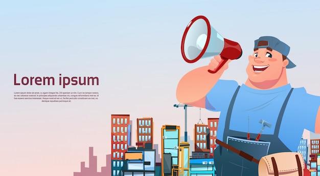 Workman hold megaphone over city building background, repairman international labor day concept Premium Vector