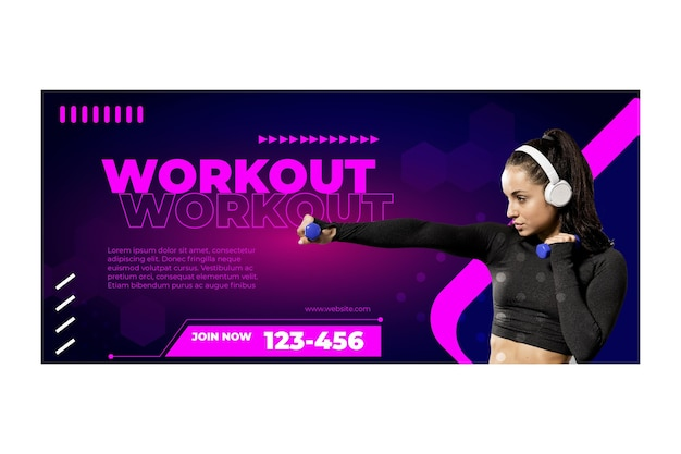 Workout banner template with photo Premium Vector