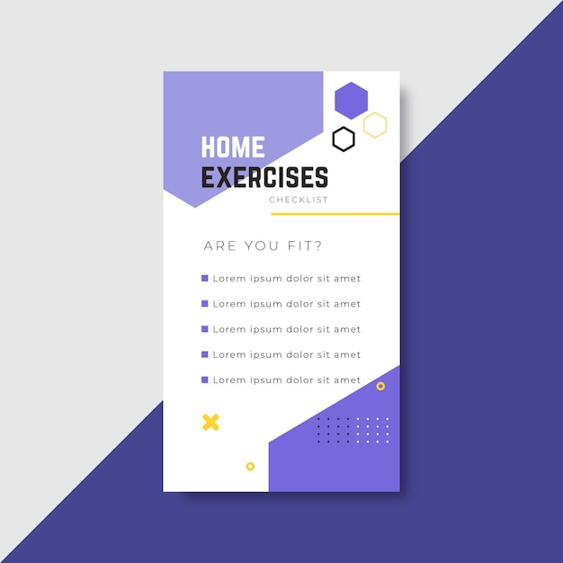 Workout checklist instagram story Free Vector