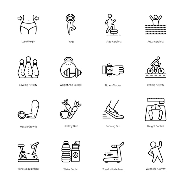 Workout and diet plan icons set Premium Vector