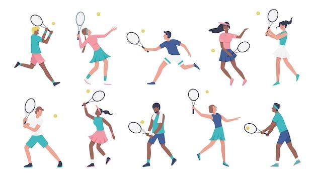 テニスベクトルイラストセットを再生するトレーニング。スポーツマンの制服を着た漫画の若い女性男性のスポーティーなキャラクターはテニスをし、プレーヤーはラケットを持ってボールを打つコレクションを分離しました Premiumベクター