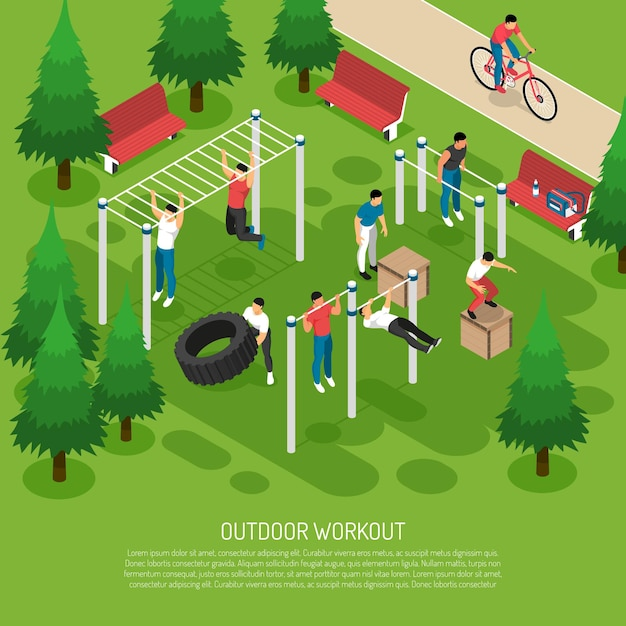 Workout at sports equipment with jumps wheel lifting pull ups in summer park isometric Free Vector