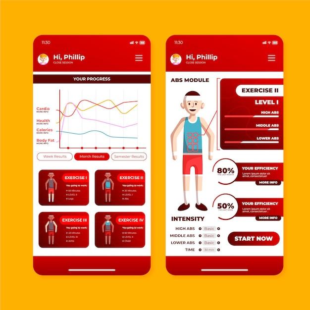 ワークアウトトラッカーアプリのインターフェース 無料ベクター
