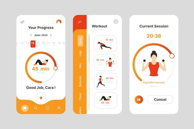 운동 추적기 앱 인터페이스 프리미엄 벡터
